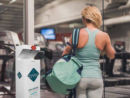 borne civic santé dans une salle de sport
